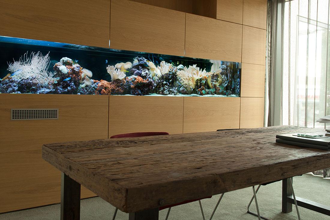 Aquarium als Raumteiler mit Tisch